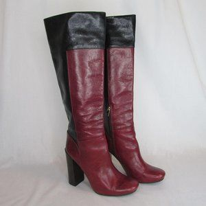 Tory Burch 10M Black Burgundy Knee Boots Alicia